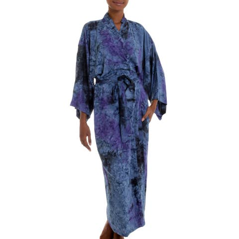 Handmade Rayon 'Wild Blues' Robe (Indonesia)