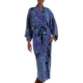 Handmade Rayon 'Wild Blues' Robe (Indonesia)