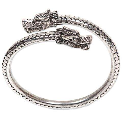 Handmade Sterling Silver Dragon Guardians Bracelet (Indonesia)