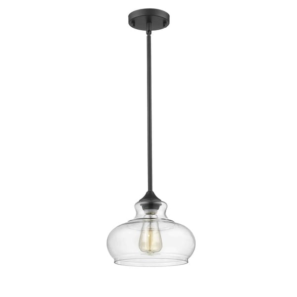 Concord Antique Bronze-finished Metal 1-light Pendant with Clear Glass Shade