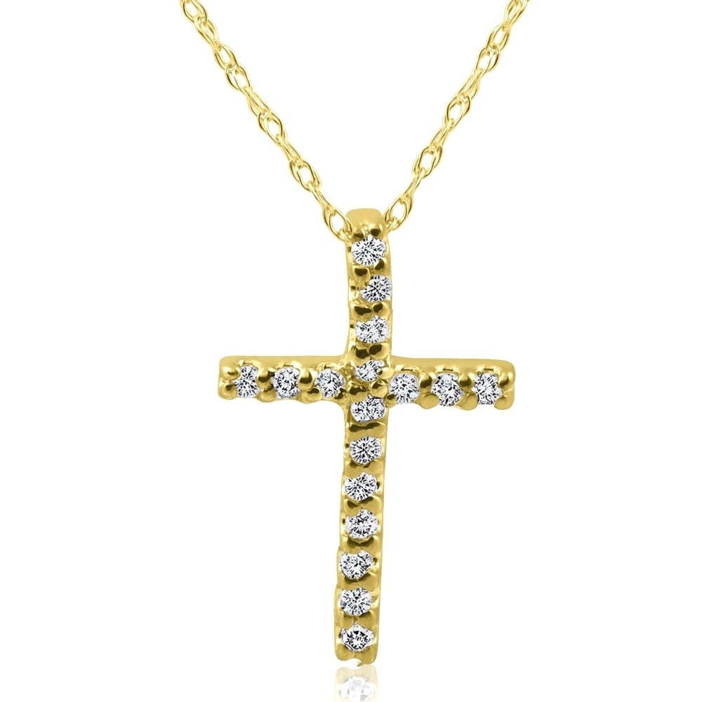 Diamond Illusion-set Solitaire Pendant 1//10ct 10k Yellow Gold