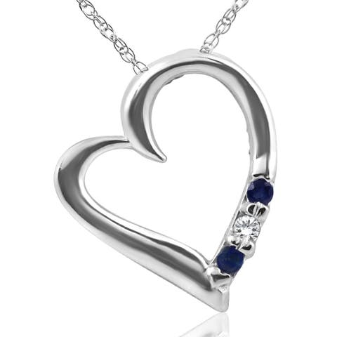 Pompeii3 14k White Gold 1/10 ct TW Blue Sapphire & Diamond 3 Stone Heart Shape Pendant