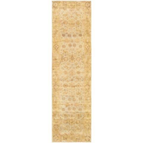 """Pasargad Oushak L. Blue/Gold collection Wool Runner (2'10"""" X 11'10"""") - 2'10"""" x 12' Runner"""