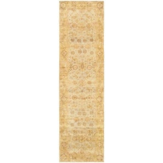 Pasargad Oushak Collection Geometric Hand-knotted Light Blue/Gold Lamb's Wool Indoor Runner Rug (2'10 x 11'10)