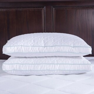 St. James Home Quilted Goose Feather and Down Pillow with Gusset (Set of 2) - White