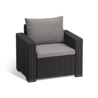 Keter California All Weather Outdoor Patio Armchair with Cushions