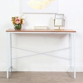 Lucky Theory Industrial Style Office Desk, White & Maple