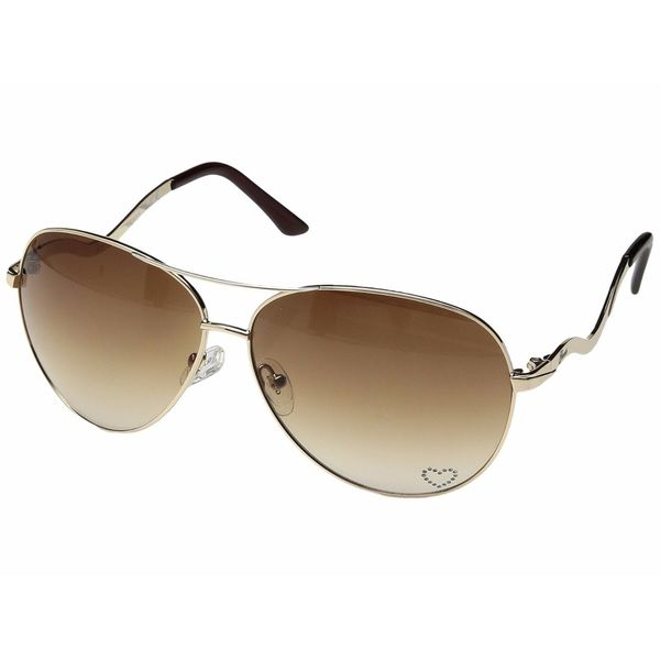 Guess Aviator 7021 Womens Brown Frame Gold Lens Sunglasses