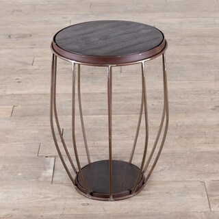 Iron and Mango Wood Round Metal Stool/End Table