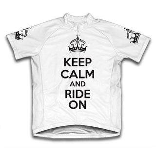 Keep Calm and Ride On Microfiber Short-Sleeved Cycling Jersey, White