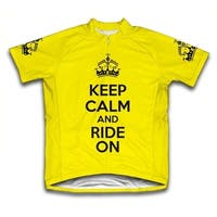 Keep Calm and Ride On Microfiber Short-Sleeved Cycling Jersey, Yellow