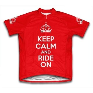 Keep Calm and Ride On Microfiber Short-Sleeved Cycling Jersey, Red