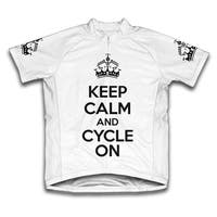 Keep Calm and Cycle On Microfiber Short-Sleeved Cycling Jersey, White