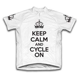 Keep Calm and Cycle On Microfiber Short-Sleeved Cycling Jersey, White (More options available)