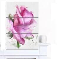 Designart 'Pink Rose Drawing Watercolor' Modern Floral Canvas Wall Art - Pink