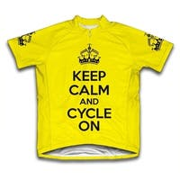 Keep Calm and Cycle On Microfiber Short-Sleeved Cycling Jersey, Yellow