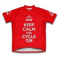 Keep Calm and Cycle On Microfiber Short-Sleeved Cycling Jersey, Red