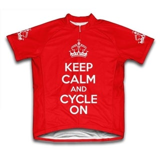 Keep Calm and Cycle On Microfiber Short-Sleeved Cycling Jersey, Red (More options available)
