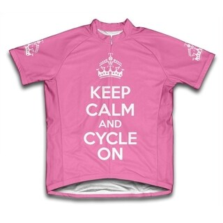 Keep Calm and Cycle On Ladies' Microfiber Short-Sleeved Cycling Jersey, Pink