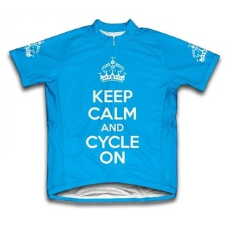 Keep Calm and Cycle On Ladies' Microfiber Short-Sleeved Cycling Jersey, Blue