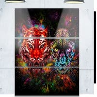 Phase1 Designart 'Tiger and Panther with Splashes' Animal Glossy Metal Wall Art