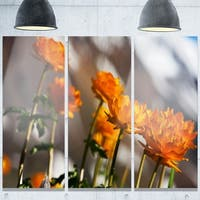 Phase1 Designart 'Attractive Small Yellow Flowers' Large Flower Glossy Metal Wall Art