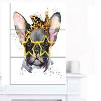 Designart 'French Bulldog with Star Glasses' Animal Canvas Wall Art