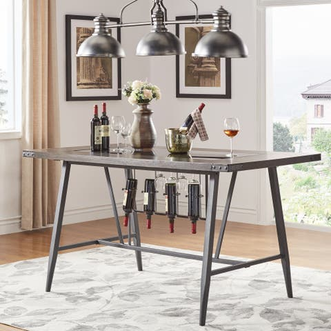 Harley Counter Height Dining Table with Wine Rack by iNSPIRE Q Modern - Black - 8' x 11'