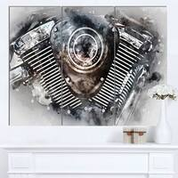 Designart 'Motorcycle Engine Watercolor' Modern Canvas Wall Art Print
