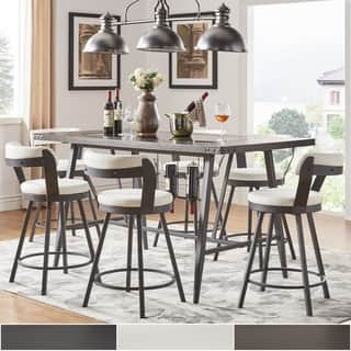 Harley Counter Height Dining Set with Wine Rack by iNSPIRE Q Modern. Size 7 Piece Sets Glass Dining Room Sets For Less   Overstock com