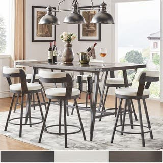 harley counter height dining set with wine rack by inspire q modern - Pub Style Dining Sets