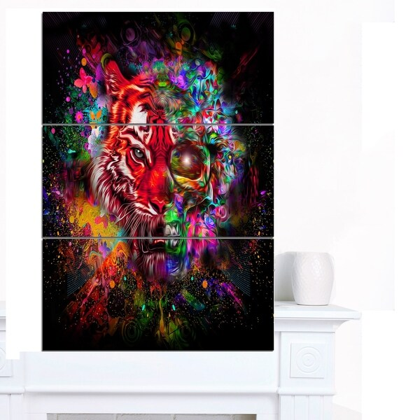 Designart 'Colorful Tiger Head with Half Skull' Abstract Wall Art Canvas