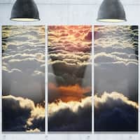 Designart 'Heavy Dark Clouds At Sunset' Extra Large Floral Glossy Metal Wall Art