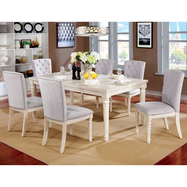 Charmant Furniture Of America Gorgenli Classic 7 Piece Vintage White Dining Set