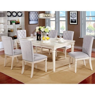 Furniture of America Gorgenli Classic 7-piece Vintage White Dining Set