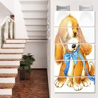 Designart 'Lovely Puppy Dog Watercolor' Contemporary Animal Glossy Metal Wall Art