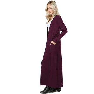 JED Women's Long Sleeve Maxi Knit Cardigan with Side Pockets (Option: small - Plum)