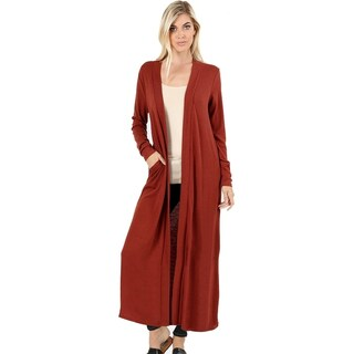 JED Women's Long Sleeve Maxi Knit Cardigan with Side Pockets (2 options available)