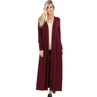 JED Women's Long Sleeve Maxi Knit Cardigan with Side Pockets (3 options available)