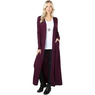 JED Women's Long Sleeve Maxi Knit Cardigan with Side Pockets (More options available)