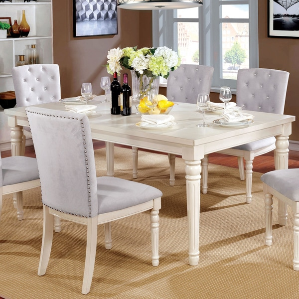Furniture Of America Gorgenli Clic Distressed Vintage White Wood Dining Table Antique