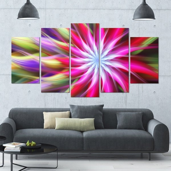 Designart \'Pink Flower Dance Bright Spiral\' Modern Floral Artwork ...