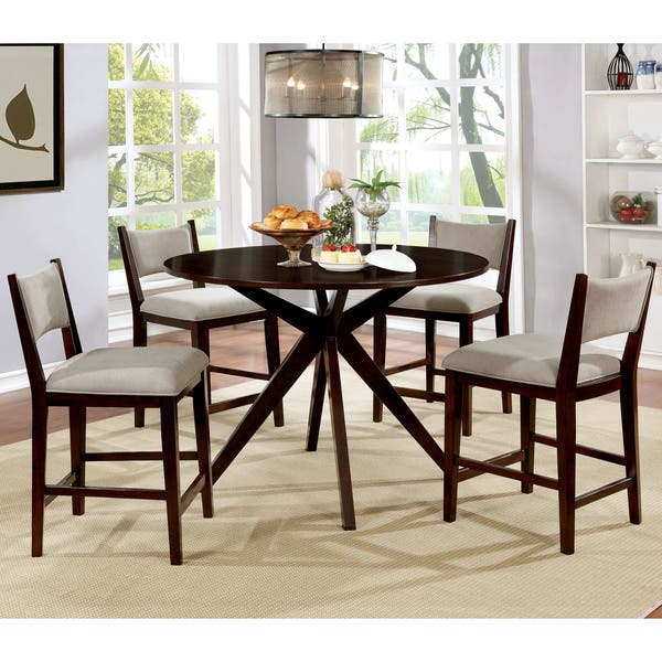 da9dd603877e0a Shop Kiara Mid-Century Modern Brown Cherry 5-piece Dining Set by FOA ...