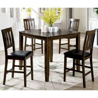 Furniture of America Cosh Rustic Oak 5-piece Counter Dining Set