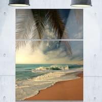 Designart 'Beautiful Tropical Beach with Palms' Beach Glossy Metal Wall Art