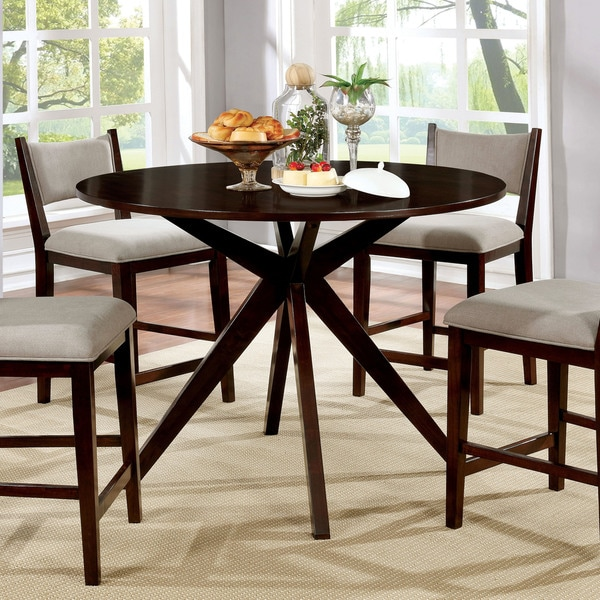 Shop Saddle Brown Round Kitchen Table And 4 Kitchen Chairs: Shop Furniture Of America Kiara Mid-Century Modern Brown