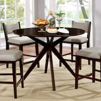 Furniture of America Kiara Mid-Century Modern Brown Cherry Round 48-inch Counter Height Table