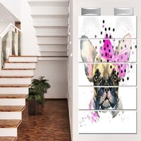 Designart 'Fashionable French Bulldog' Animal Glossy Metal Wall Art