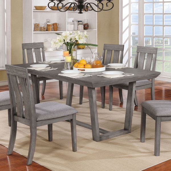 shop furniture of america galicia rustic weathered grey wood 68 inch dining table free. Black Bedroom Furniture Sets. Home Design Ideas