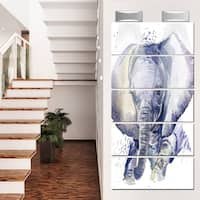 Designart 'Baby Elephant Blue Watercolor' Animal Metal Wall Art